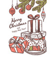 merry christmas greeting card with gifts vector image vector image