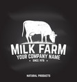milk farm badge or label vector image vector image