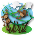 monkeys jumping in the forest vector image vector image