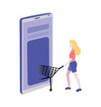 online shopping concept with woman pushing trolley vector image vector image
