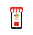 order food online with paper bag with food and vector image vector image