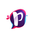 p letter chat app logo at colorful watercolor