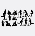people riding scooter silhouettes vector image vector image