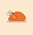 roasted turkey icon happy thanksgiving day autumn vector image