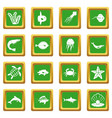 sea animals icons set green vector image vector image