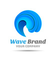 Sea Water wave icon Volume Logo Colorful 3d Design vector image vector image