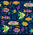 seamless pattern with oceanic fish vector image