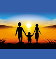 silhouette family standing at sunset vector image vector image