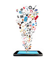 smartphone with many shopping objects floating vector image vector image