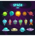 Space cartoon icons set vector image vector image