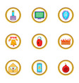 spam icons set cartoon style vector image vector image