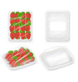 strawberries tray package realistic mockups vector image vector image