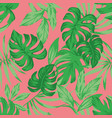 tropical green leaves living coral background vector image vector image