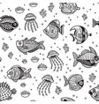 underwater life seamless pattern with ink fishes vector image
