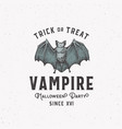 vampire party vintage style halloween logo or vector image vector image