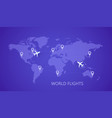 world map with airports and planes vector image vector image