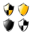 Set of steel shields isolated on white vector image