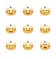 halloween pumpkin icons emoticon set cute vector image