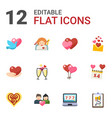 12 heart flat icons set isolated on white vector image vector image