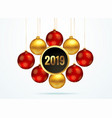 2019 golden background with hanging balls vector image vector image
