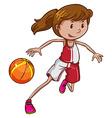 A girl playing basketball vector image vector image