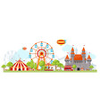 amusement park composition vector image vector image