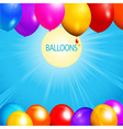 Balloons over sunny sky background vector image vector image