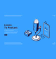 banner podcast and radio broadcasting vector image vector image
