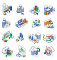 big data exchange isometric set vector image vector image