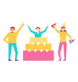 birthday party set of people having fun celebrate vector image vector image