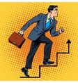businessman climbs up career ladder vector image vector image