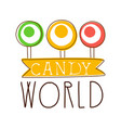 candy world logo sweet bakery emblem colorful vector image vector image