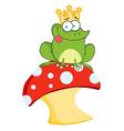 Cartoon frog on mushroom vector image vector image