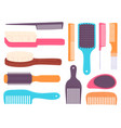 cartoon hairbrushes and professional comb for hair vector image