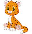 Cartoon happy baby cheetah sitting isolated vector image vector image