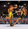 cartoon male fighters are paired in the ring vector image vector image
