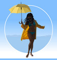 cartoon woman in a swimsuit is in a raincoat with vector image vector image