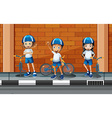 Children riding bicycle on the road vector image vector image