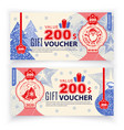 christmas coupon voucher with santa claus state vector image vector image