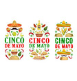 cinco de mayo food drink banners mexican holiday vector image vector image