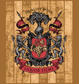 coat arms for liquor store on wooden background vector image