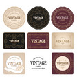 collection eight vintage labels isolated on vector image