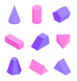 colorful figures set various prisms templates vector image