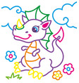 coloring book of cute dragon vector image vector image