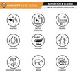 concept line icons set 16 cave art vector image vector image