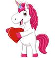 cute baunicorn holding heart vector image vector image