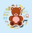 cute teddy bear toys background vector image