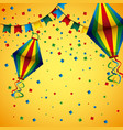 decorative pennant flags hot lanterns confetti vector image