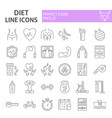 diet thin line icon set sport symbols collection vector image vector image