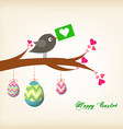 easter eggs hanging on the wire greeting card with vector image vector image